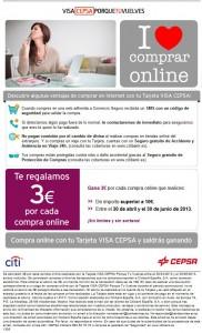 Imagen del correo enviado por Visa Cepsa