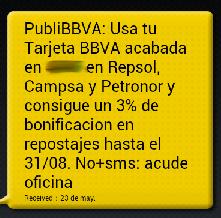 SMS recibido de BBVA