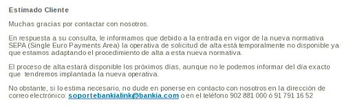 Bankialink respuesta email