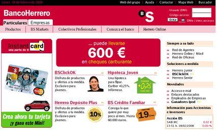 Banco Herrero, página antigua