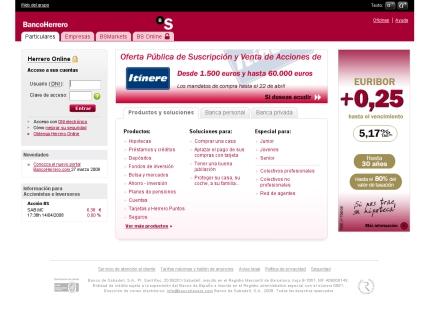 Banco Herrero, web nueva