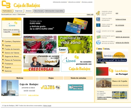 Caja Badajoz, Web nueva.