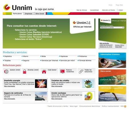 Captura de la web de Unnim