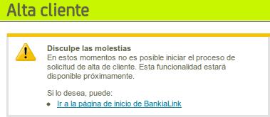 Altas bloqueadas en Bankialink