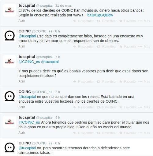 tucapital y COINC se enzarzan en Twitter
