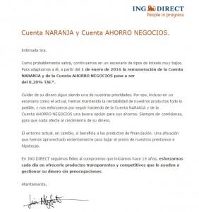 Carta ING - Reducción de tipos